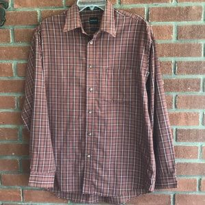 Arrow Men's plaid brown shirt- size M-15-15.1/2